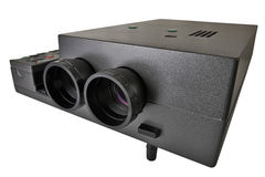 Projector multimedia with two lenses. Over white with clipping path royalty free stock photos