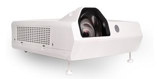 Projector multimedia white colour. On white background stock images