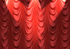 Projector na cortina vermelha Imagens de Stock