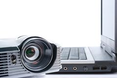 Projector and notebook Stock Image