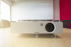 Projector presentation in meeting room white board sunlight from window Stock Photography