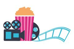Projector reel strip popcorn production movie film. Vector illustration royalty free illustration