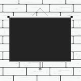 Projector screen on brick wall illustration Royalty Free Stock Images