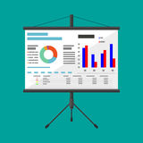 Projector screen with business presentation. Chart pie, financial report. vector illustration in flat style Stock Images