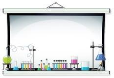 Projector screen with laboratory equipment. Illustration stock illustration