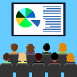 Projector screen with presentation. Projector screen with financial report, presentation. Training staff, meeting, report, business school. Illustration in flat Stock Photos