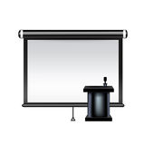 Projector screen with presentation table and microphone Stock Image