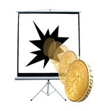 Projector screen rolling gold coin Royalty Free Stock Images