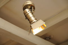 Projector searchlight on ceiling. Projector searchlight eqipment on ceiling royalty free stock photo