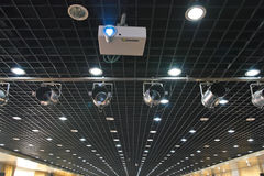 Projector, spotlights and ceiling. The luxury platfond with projector and spotlights Stock Image