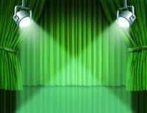Projectores em cortinas verdes do cinema de veludo Foto de Stock Royalty Free