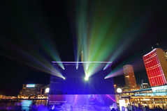 Projectors and city buildings during Vivid Sydney Royalty Free Stock Images