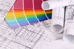 Projects of houses with color palette Stock Photo