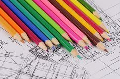 Projects of houses with color pencil Royalty Free Stock Images