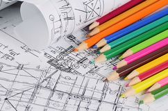 Projects of houses with color pencil Royalty Free Stock Photos