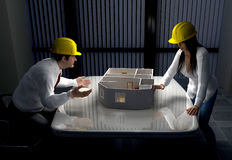 Projects. The man and a woman discuss Projects Stock Photos
