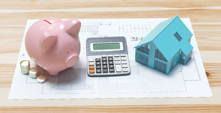 Projects of new house with piggy bank and calculator, illustration. Piggy bank with money, house and projects, illustration, 3d render Stock Photography
