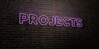 PROJECTS -Realistic Neon Sign on Brick Wall background - 3D rendered royalty free stock image. Can be used for online banner ads and direct mailers Royalty Free Stock Image