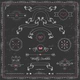 Projektów elementy, chalkboard ślubny zaproszenie, Zdjęcie Stock