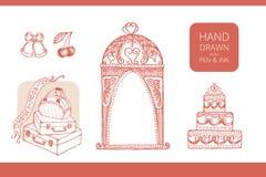 Projektów elementy dla poślubiać i miesiąca miodowego Obrazy Royalty Free