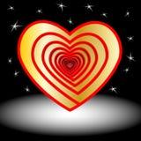 Projektów elementy dla walentynki s dnia wektor Serce złoto ikona E czerwone ilustracja Obrazy Stock
