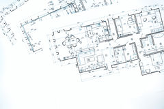 Projektów podłogowi plany, techniczny rysunek, budowy backgroun Zdjęcie Stock