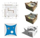 Projekt av bungalowen Arkivbild