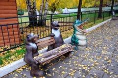 Projekt ławka w zoo Zdjęcia Royalty Free