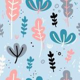 Projekt bezszwowy wzór z wystrojem kwiaty, liście i gałązki, Delikatny tło w Skandynawskim stylu Obrazy Royalty Free