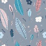 Projekt bezszwowy wzór z wystrojem kwiaty, liście i gałązki, Delikatny tło w Skandynawskim stylu Obraz Royalty Free