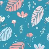 Projekt bezszwowy wzór z wystrojem kwiaty, liście i gałązki, Delikatny tło w Skandynawskim stylu Obraz Stock