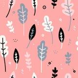 Projekt bezszwowy wzór z wystrojem kwiaty, liście i gałązki, Delikatny tło w Skandynawskim stylu Zdjęcia Royalty Free