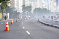 Projekt boardwalk copacabana plaża, zamknięty dla wydarzenia sportowego fotografia stock