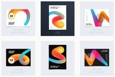 Projekt broszurka szablonu miękka pokrywa Colourful nowożytny abstrakta set, sprawozdanie roczne z kształtami dla oznakować zdjęcia stock