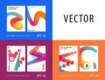 Projekt broszurka szablonu miękka pokrywa Colourful nowożytny abstrakta set, sprawozdanie roczne z kształtami dla oznakować zdjęcie royalty free