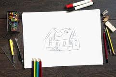 projekt budowy mieszkań nakreślenie Obrazy Stock