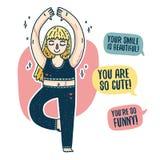 Projekt ciało pozytywny plakat z młodą blondynki dziewczyną Szczęśliwy plus wielkościowa kobieta z bliznami angażuje w joga ilustracji