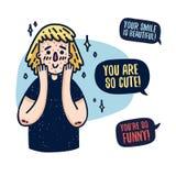 Projekt ciało pozytywny plakat z młodą dziewczyną z drażnieniem Śliczna kobieta z trądzikiem Motywacyjny feministyczny plakat ilustracji