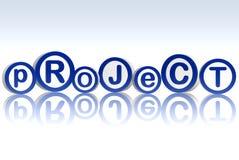 Projekt in den blauen Kreisen lizenzfreie abbildung