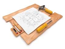 Projekt der construction.3D Abbildung auf Weiß Stockfoto
