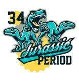 Projekt dla drukować na koszulce, agresywni dinosaury gotowi atakować Jurajski okres, drapieżnik dawność, sport ilustracji