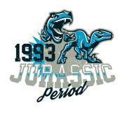 Projekt dla drukować na koszulce, agresywni dinosaury gotowi atakować Jurajski okres, drapieżnik dawność, sport royalty ilustracja