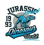 Projekt dla drukować na koszulce, agresywny dinosaur gotowy dla ataka Jurajski okres, drapieżnik dawność, sport ilustracja wektor