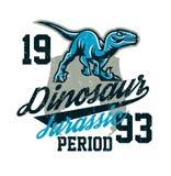 Projekt dla drukować na koszulce, agresywny dinosaur gotowy dla ataka Jurajski okres, drapieżnik dawność, sport ilustracji