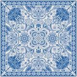 Projekt dla kwadrat kieszeni, chusta, tkanina Paisley kwiecisty wzór Obrazy Stock