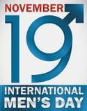 Projekt dla Międzynarodowego mężczyzna ` s dnia z Męskim symbolem i datą, Wektorowa ilustracja Obrazy Royalty Free
