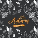 Projekt dla plakata, karta, zaproszenie, plakat, broszurka, ulotka Wektorowi szablony Jesieni sprzedaży tło z liśćmi dla Ilustracja Wektor