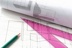 Projekt, ein Bauplan Stockbild