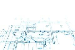 Projekt för golvplan, teknisk teckning, konstruktionsritninglodisar Royaltyfria Bilder