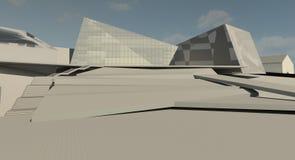 Projekt för illustration 3D av byggnad Arkivfoto